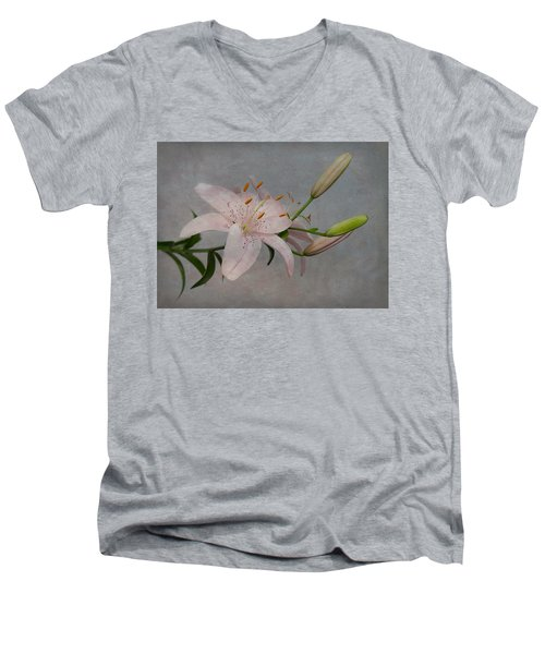 Men's V-Neck T-Shirt featuring the photograph Pink Lily With Texture by Patti Deters