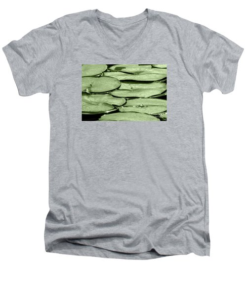 Men's V-Neck T-Shirt featuring the photograph Lilypads by Roselynne Broussard
