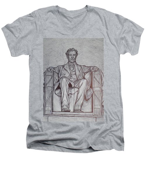 Lincoln Memorial Men's V-Neck T-Shirt by Christy Saunders Church