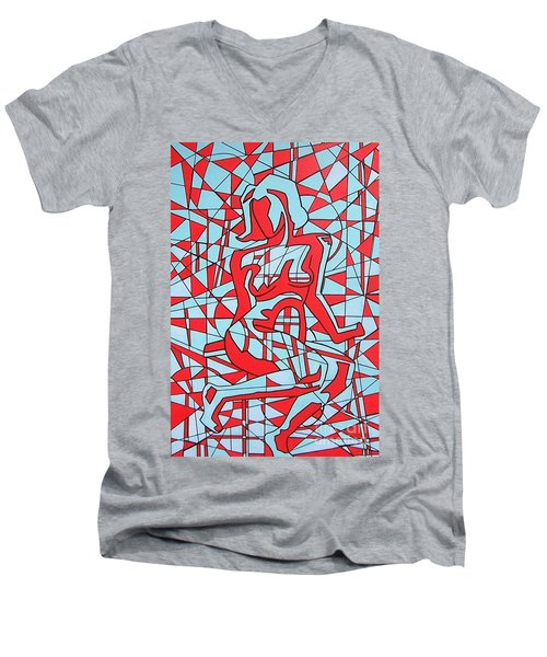 Lined Girl Men's V-Neck T-Shirt by Thomas Valentine