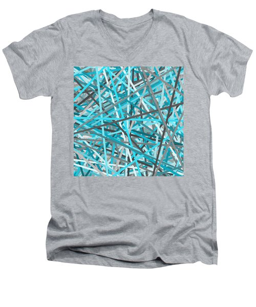 Link - Turquoise And Gray Abstract Men's V-Neck T-Shirt