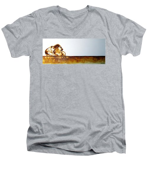 Lion And Lioness - Original Artwork Men's V-Neck T-Shirt