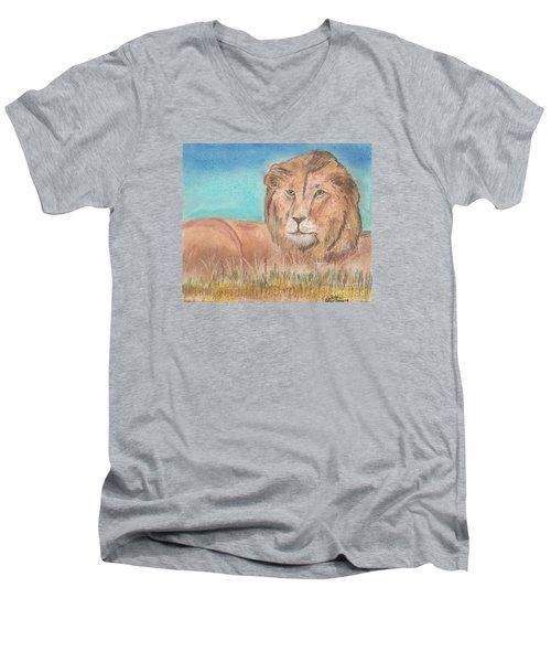 Men's V-Neck T-Shirt featuring the pastel Lion by David Jackson