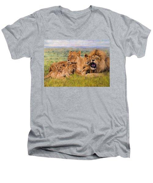 Lion Family Men's V-Neck T-Shirt