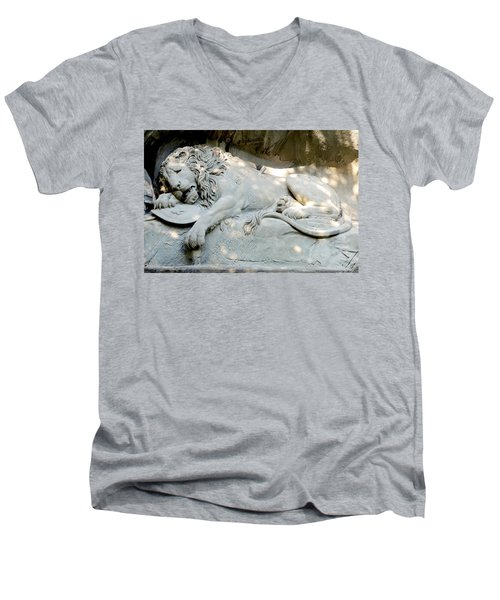 Lion Monument In Lucerne Switzerland Men's V-Neck T-Shirt