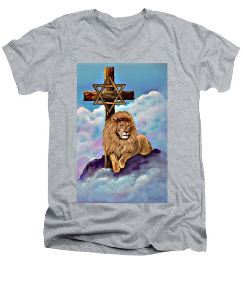 Men's V-Neck T-Shirt featuring the painting Lion Of Judah At The Cross by Bob and Nadine Johnston