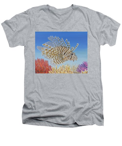 Lionfish And Coral Men's V-Neck T-Shirt by Jane Girardot