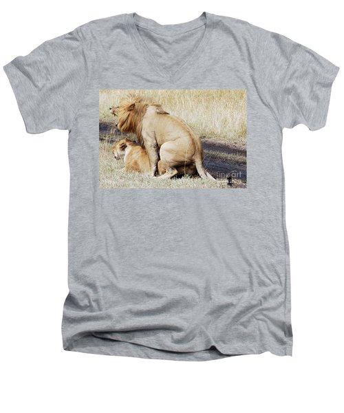 Lions Mating Men's V-Neck T-Shirt