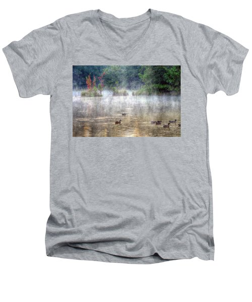 Men's V-Neck T-Shirt featuring the photograph Little Bit Of Fall by Charlotte Schafer