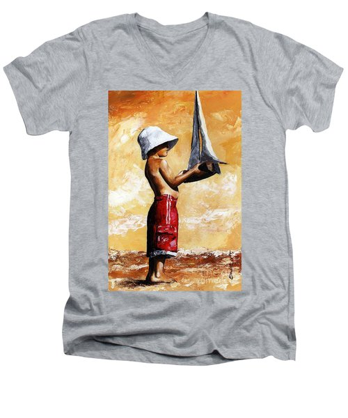 Little Boy In The Beach Men's V-Neck T-Shirt by Emerico Imre Toth