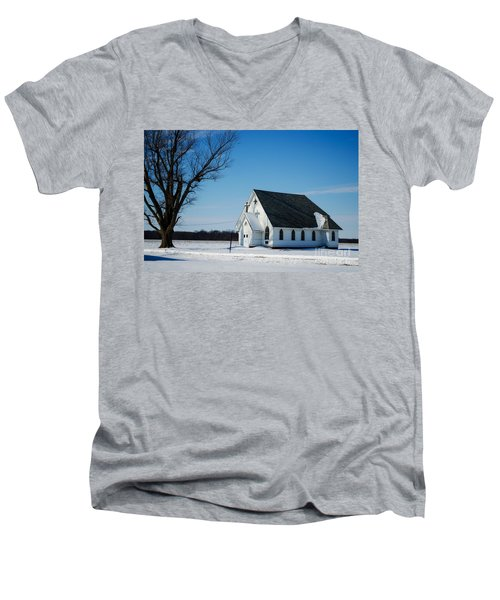 Little Church On The Prairie Men's V-Neck T-Shirt by Luther Fine Art