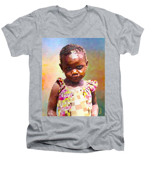 Men's V-Neck T-Shirt featuring the digital art Little Cute Girl by Anthony Mwangi