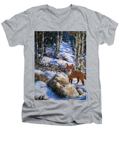 Men's V-Neck T-Shirt featuring the painting Little Fox by Megan Walsh