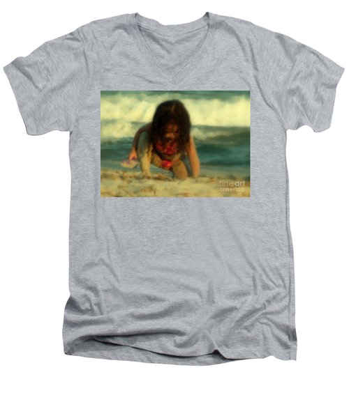 Men's V-Neck T-Shirt featuring the photograph Little Girl At The Beach by Lydia Holly