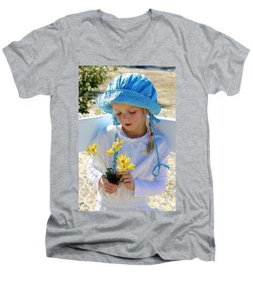 Little Girl Blue  Men's V-Neck T-Shirt by Suzanne Oesterling