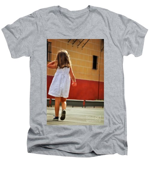 Little Girl In White Dress Men's V-Neck T-Shirt by Mary Machare