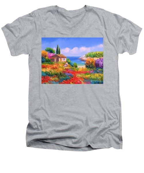 Little House By The Sea Men's V-Neck T-Shirt