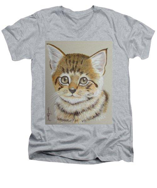 Little Kitty Men's V-Neck T-Shirt by Janet Garcia