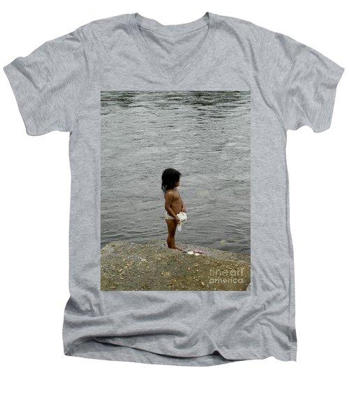 Little Laundress Men's V-Neck T-Shirt by Kathy McClure