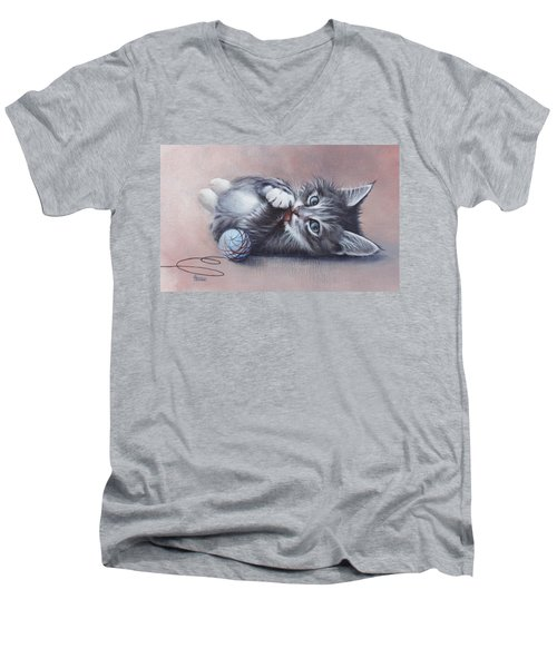 Men's V-Neck T-Shirt featuring the painting Little Mischief by Cynthia House