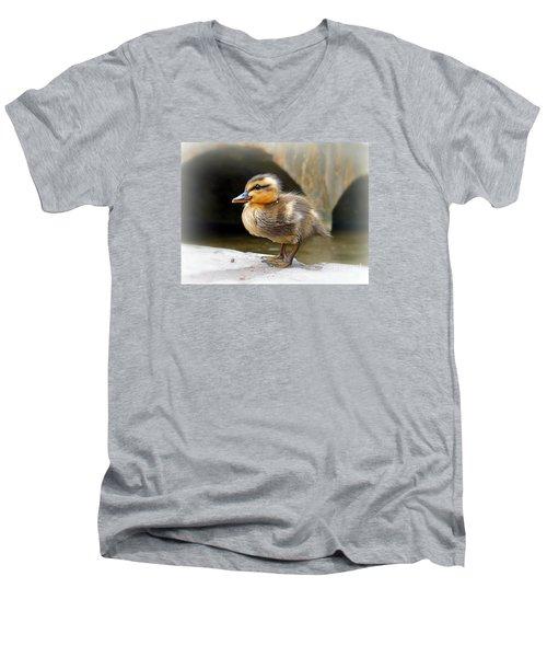 Men's V-Neck T-Shirt featuring the photograph Little Quack by Morag Bates