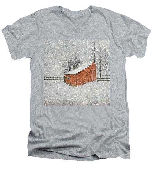 Little Red Barn Men's V-Neck T-Shirt by Juli Scalzi