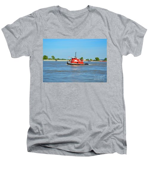Little Red Boat On The Mighty Mississippi Men's V-Neck T-Shirt by Alys Caviness-Gober