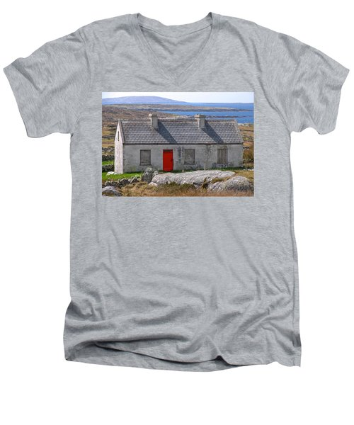 Little Red Door II Men's V-Neck T-Shirt by Suzanne Oesterling