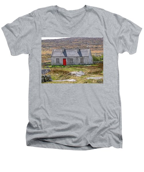 Little Red Door Men's V-Neck T-Shirt by Suzanne Oesterling