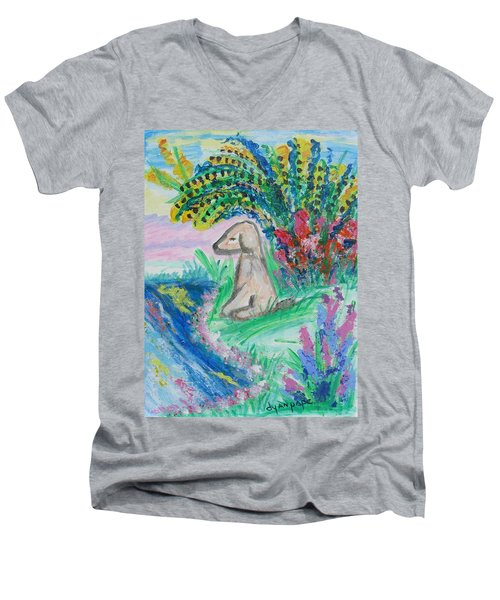 Men's V-Neck T-Shirt featuring the painting Little Sweet Pea by Diane Pape