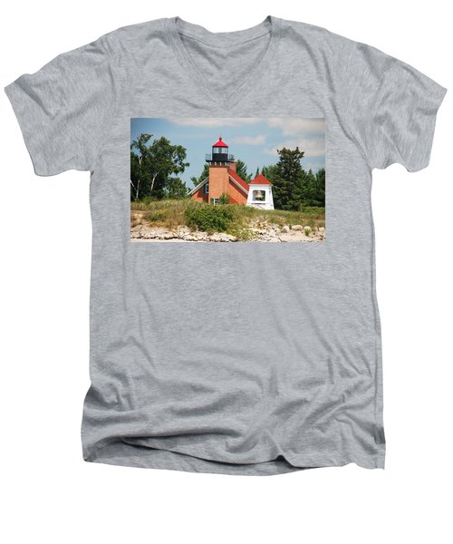 Men's V-Neck T-Shirt featuring the photograph Little Traverse Lighthouse No.2 by Janice Adomeit