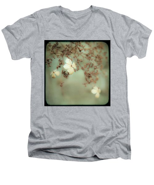 Men's V-Neck T-Shirt featuring the photograph Little White Flowers - Floral - The Little Things In Life by Gary Heller