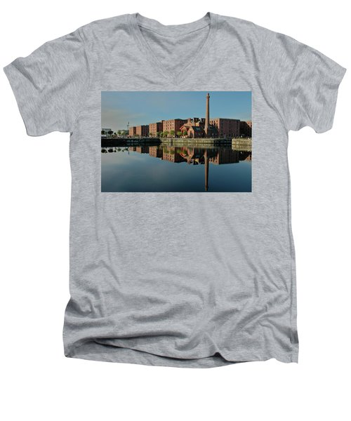 Liverpool Canning Docks Men's V-Neck T-Shirt by Jonah  Anderson