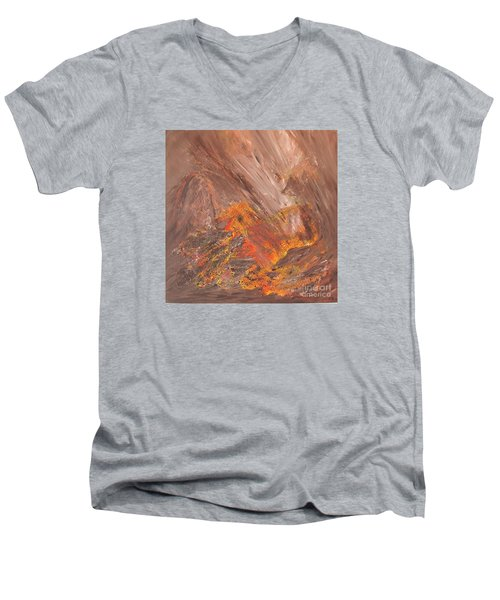 Men's V-Neck T-Shirt featuring the painting Living Earth-kneeling Buddha by Susan  Dimitrakopoulos
