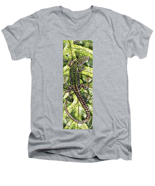 Men's V-Neck T-Shirt featuring the painting Lizard In Green Nature - Elena Yakubovich by Elena Yakubovich