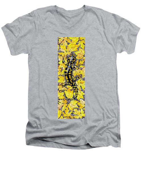 Men's V-Neck T-Shirt featuring the painting Lizard In Yellow Nature - Elena Yakubovich by Elena Yakubovich