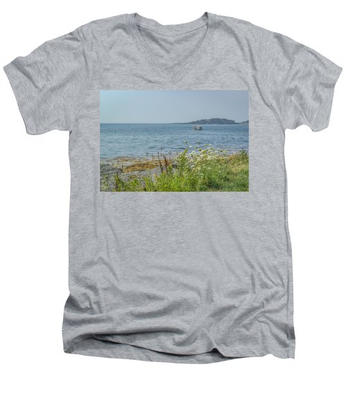 Men's V-Neck T-Shirt featuring the photograph Lobster Boat At Rest by Jane Luxton