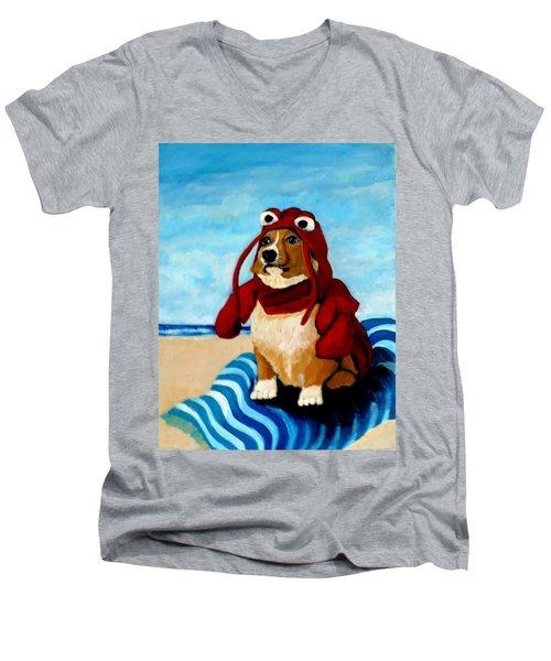 Lobster Corgi On The Beach Men's V-Neck T-Shirt