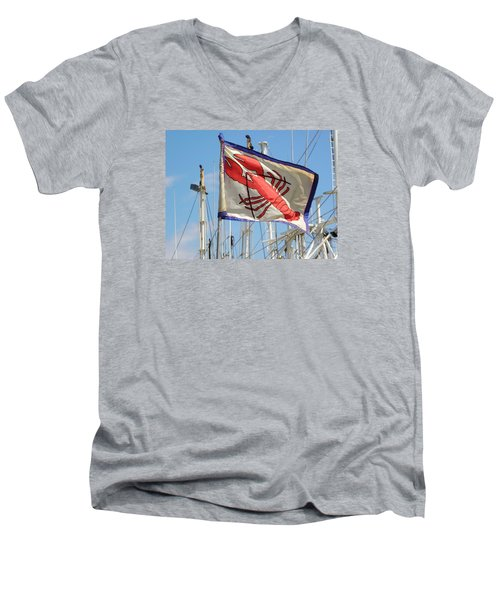 Lobster Flag At The Point Men's V-Neck T-Shirt by Mary Carol Williams
