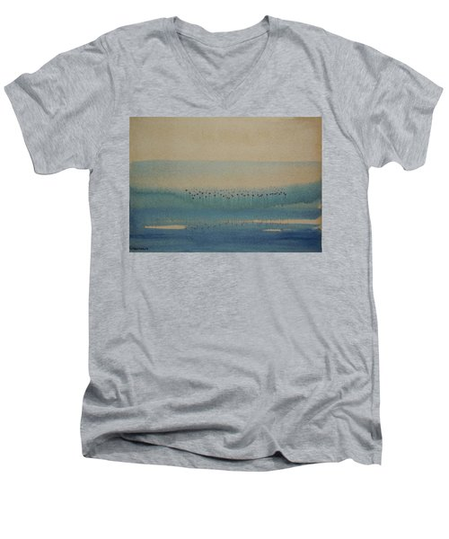 Men's V-Neck T-Shirt featuring the painting Loch Of My Heart by Mini Arora