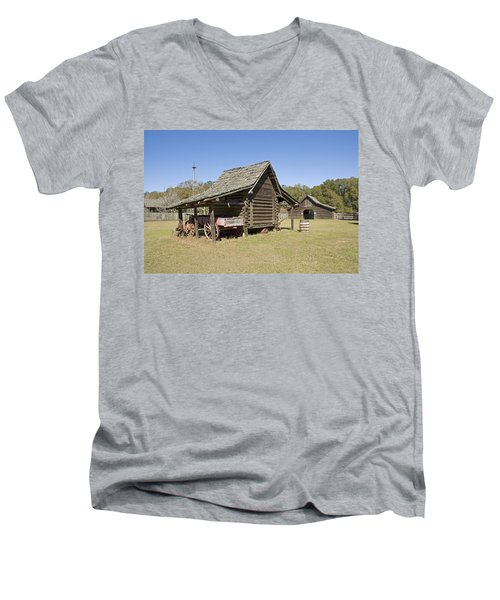 Men's V-Neck T-Shirt featuring the photograph Log Cabin And Barn by Charles Beeler