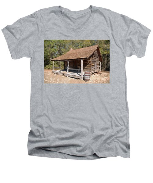 Men's V-Neck T-Shirt featuring the photograph Log Cabin by Charles Beeler