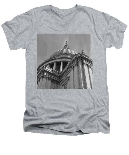 London St Pauls Cathedral Men's V-Neck T-Shirt by Cheryl Miller