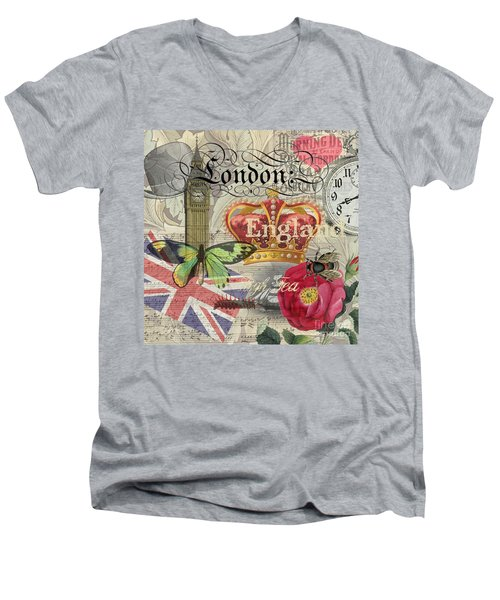 London England Vintage Travel Collage  Men's V-Neck T-Shirt