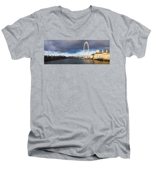 London Eye At South Bank, Thames River Men's V-Neck T-Shirt by Panoramic Images