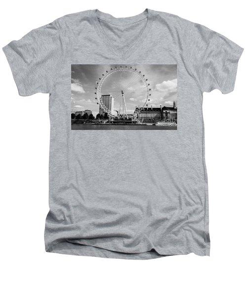 Men's V-Neck T-Shirt featuring the photograph London Eye Head-on Bw by Matt Malloy