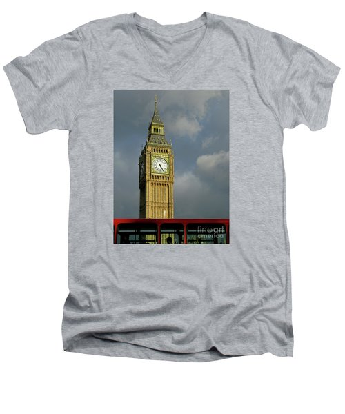 Men's V-Neck T-Shirt featuring the photograph London Icons by Ann Horn