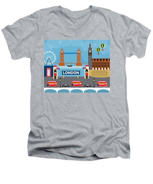 London England Skyline By Loose Petals Men's V-Neck T-Shirt by Karen Young