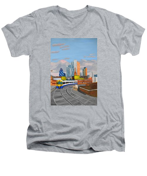 Men's V-Neck T-Shirt featuring the painting London Overland Train-hoxton Station by Magdalena Frohnsdorff