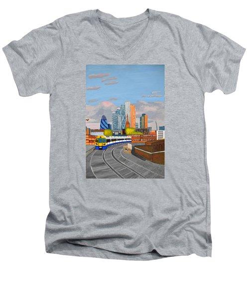London Overland Train-hoxton Station Men's V-Neck T-Shirt